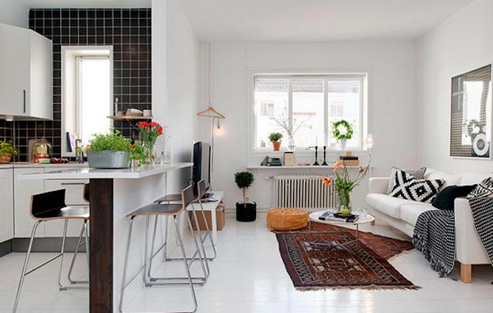 Decoração de sala pequena com cozinha americana