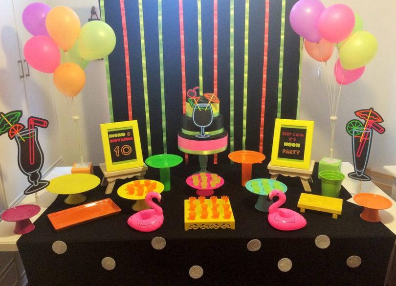 Decoração com neon para festa