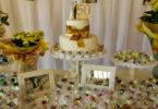 Decoração para bodas de ouro